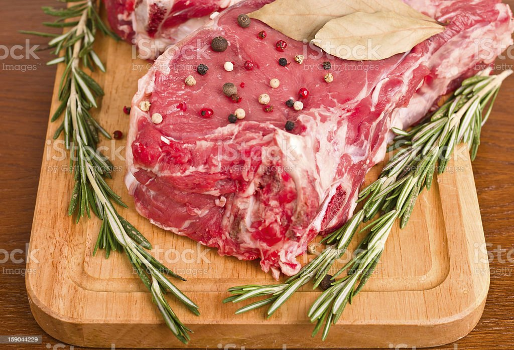 Raw Meat Steaks and Spices close-up royalty-free stock photo
