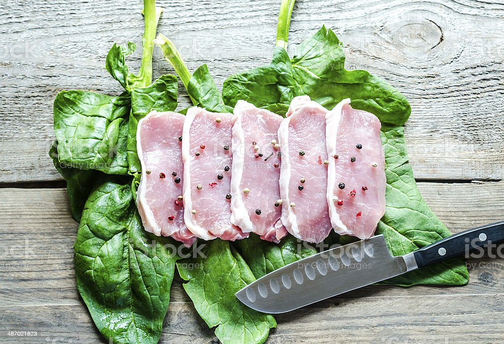 Raw meat steaks on spinach leaves royalty-free stock photo