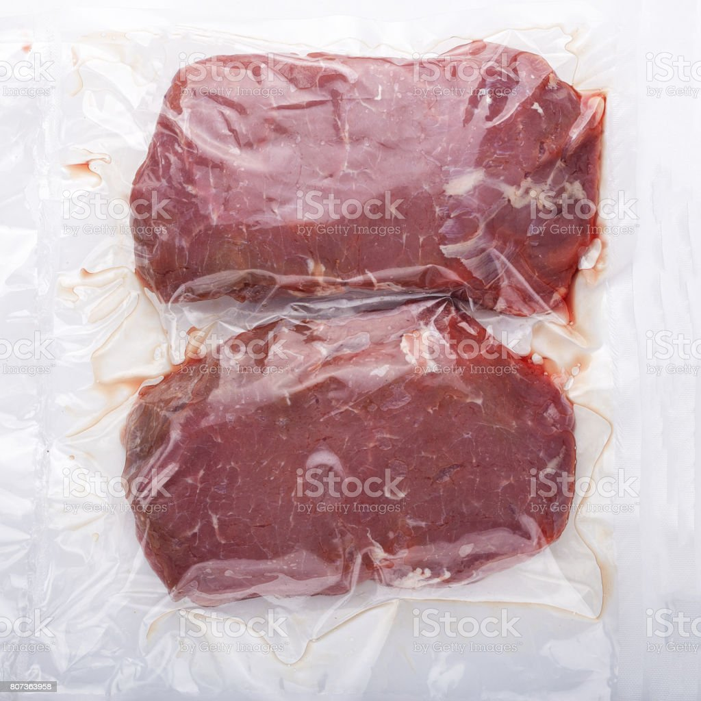 raw meat vacuum-packed stock photo