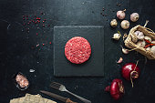 istock Raw minced beef burgers with spices layout 1252407106