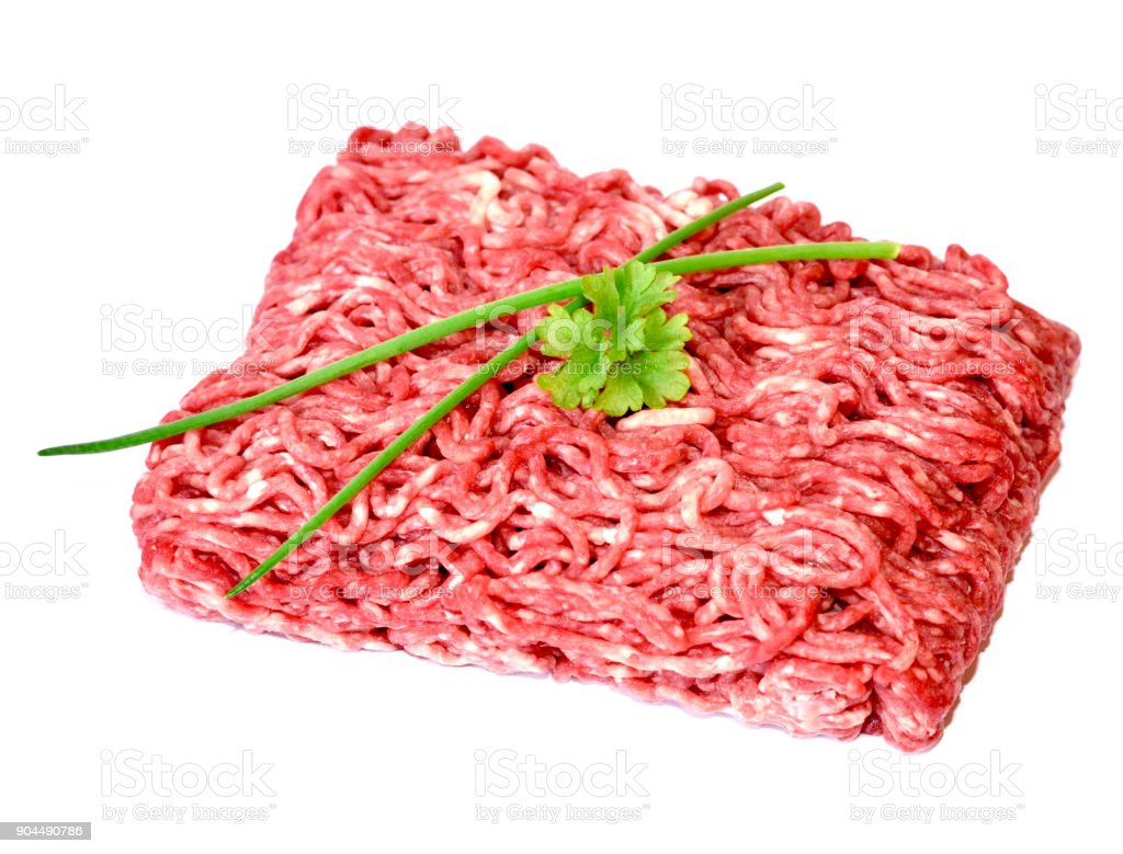 Raw minced meat or beef meat with decorative parsley stock photo