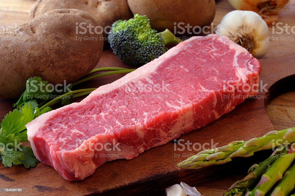 Raw New York Steak royalty-free stock photo