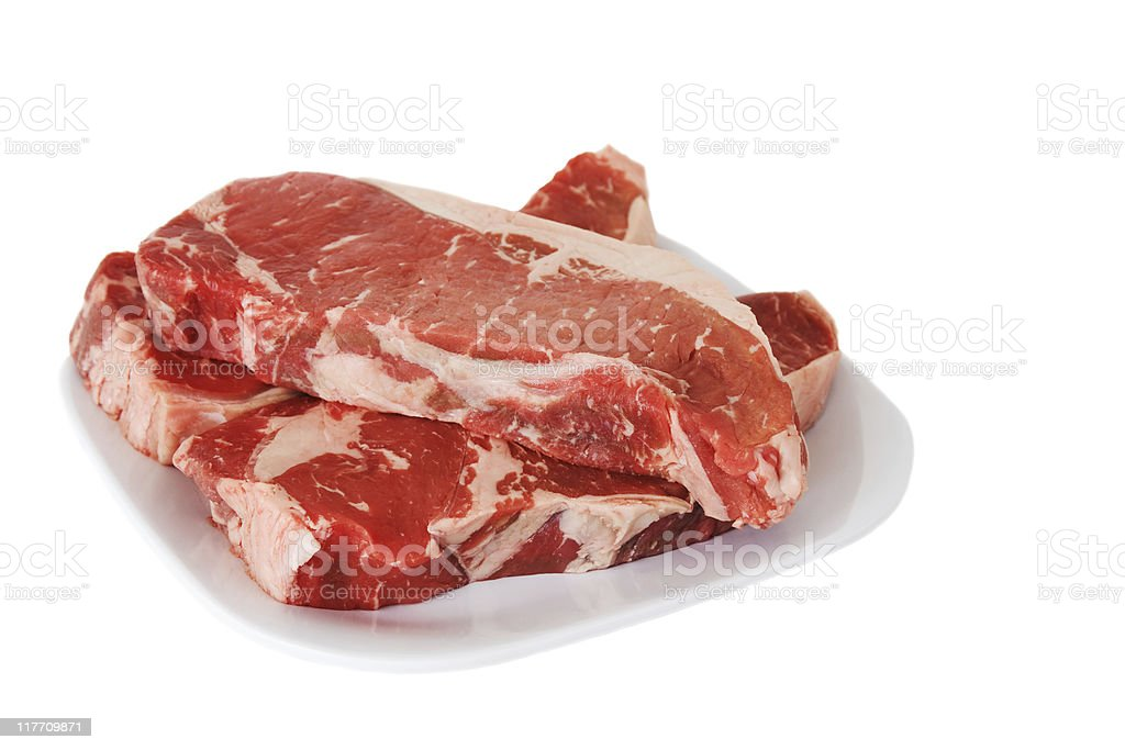 Raw New York Strip Steaks on a Plate royalty-free stock photo