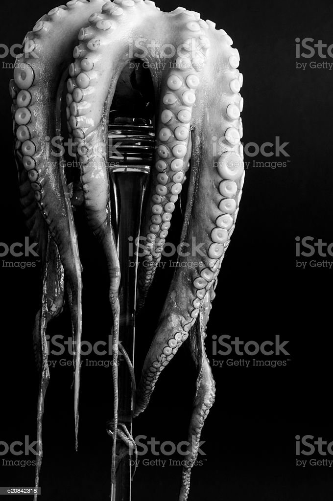 raw octopus on a glass pedestal stock photo