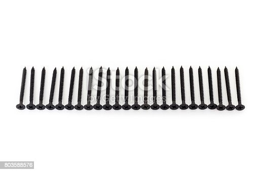 istock A raw of black average size screws on white background 803588576