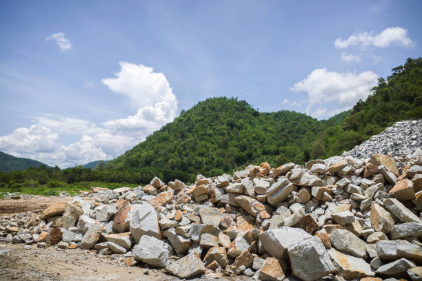 Raw of Limestone chippings biggest mountain stock photo