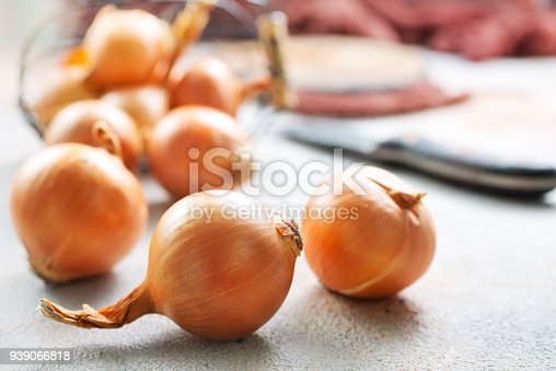 fresh raw onions in a basket, stock photo