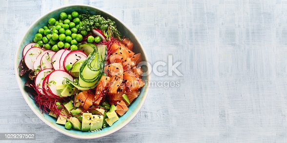 Raw Organic Ahi Salmon Poke Bowl.  Top view with copy space. Panorama