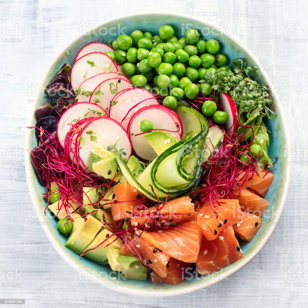 Raw Organic Ahi Salmon Poke Bowl. stock photo