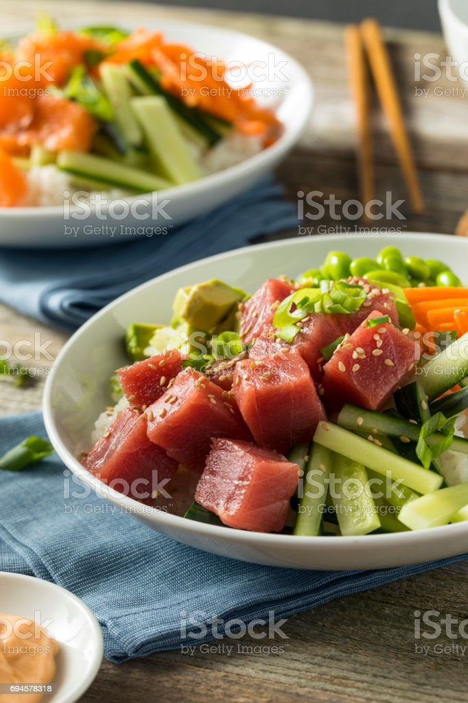 Raw Organic Ahi Tuna Poke Bowl stock photo