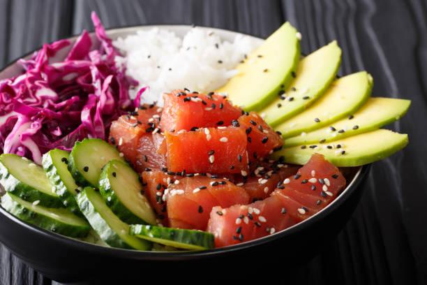 Raw Organic Ahi Tuna Poke Bowl with Rice and Veggies close-up. Horizontal stock photo