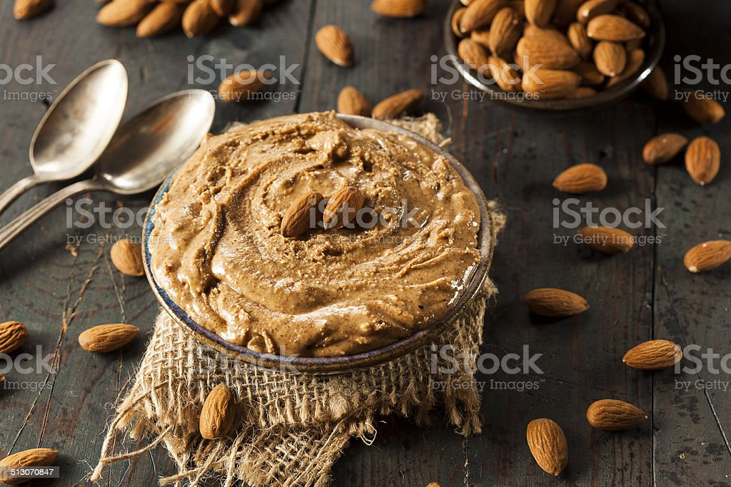 Raw Organic Almond Butter stock photo