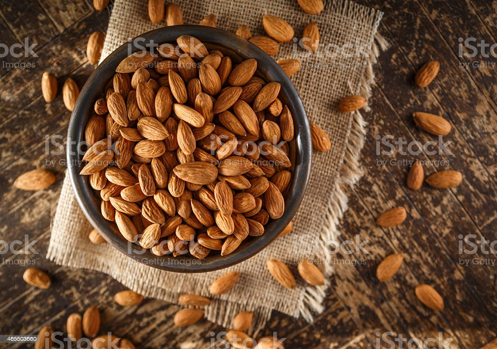 Raw Organic Almonds stock photo