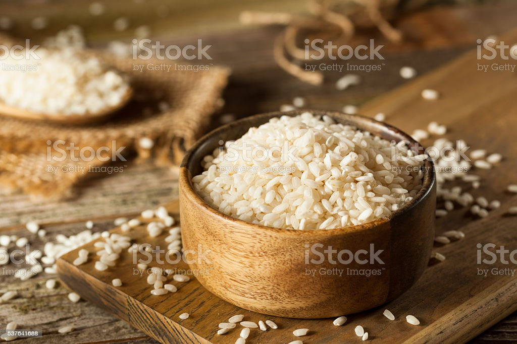 Raw Organic Arborio Rice stock photo