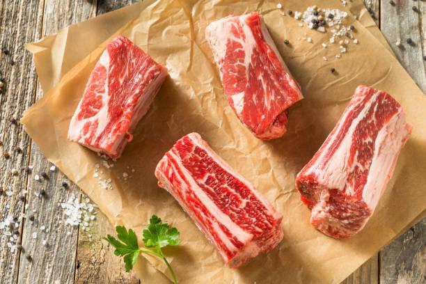 Raw Organic Beef Short Ribs stock photo