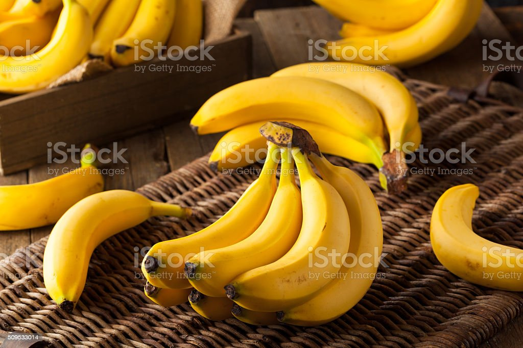 Raw Organic Bunch of Bananas stock photo