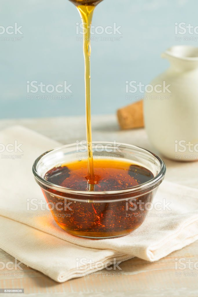 Raw Organic Dark Agave Syrup stock photo