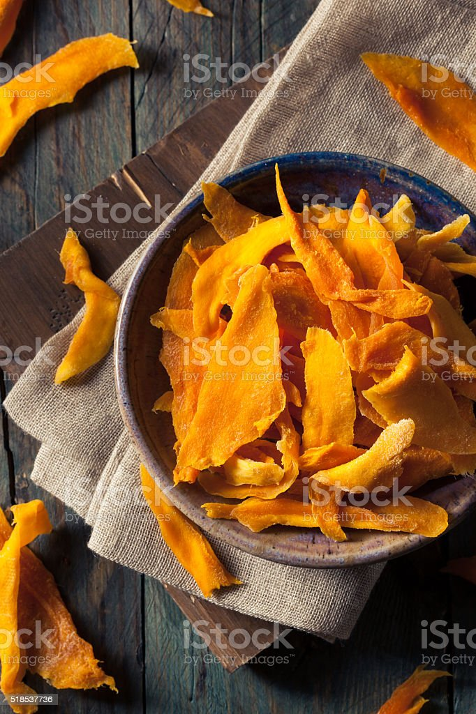 Raw Organic Dried Mangos stock photo