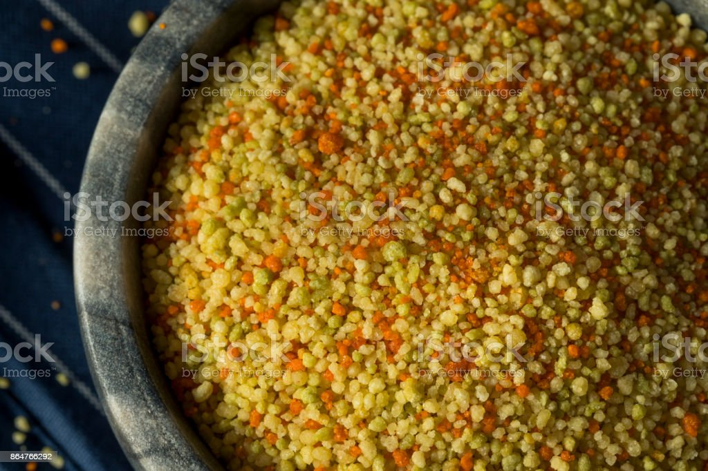 Raw Organic Dry Tri Color Couscous stock photo