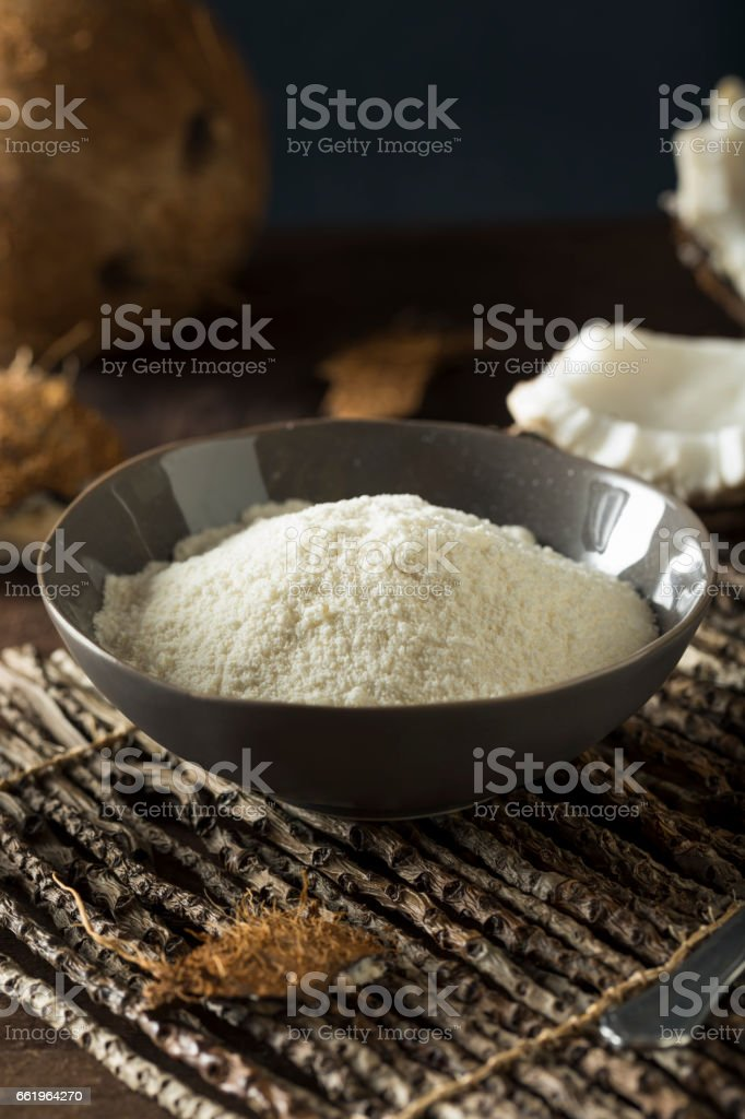 Raw Organic Dry White Coconut Flour stock photo
