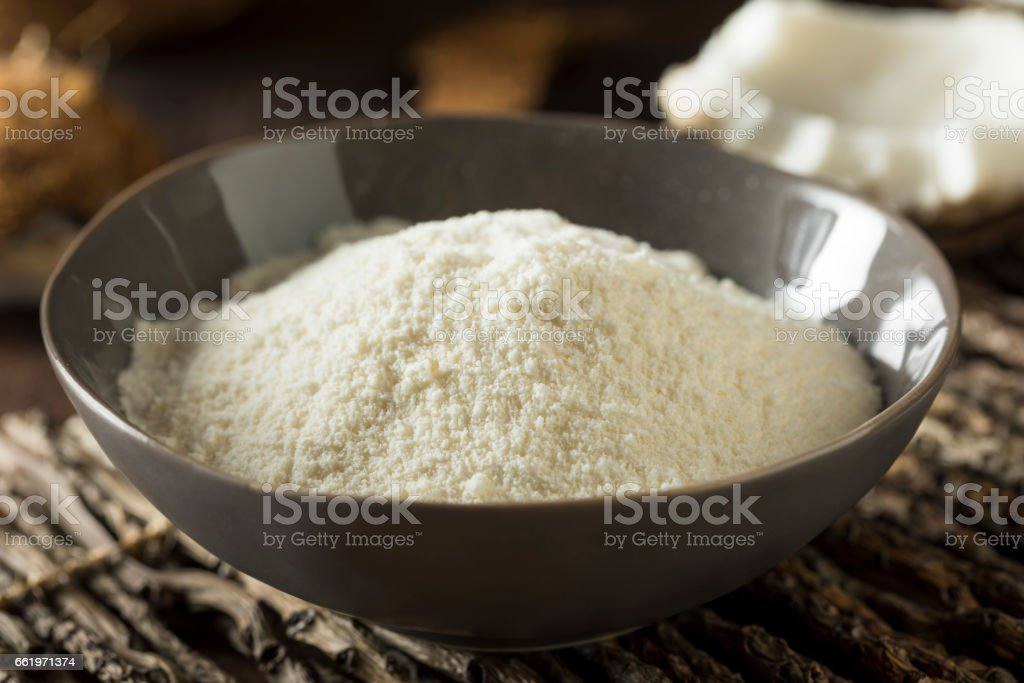 Raw Organic Dry White Coconut Flour royalty-free stock photo