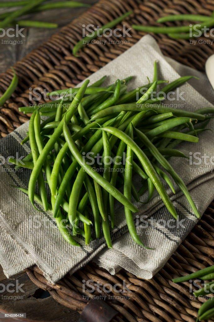 Raw Organic French Green Beans stock photo