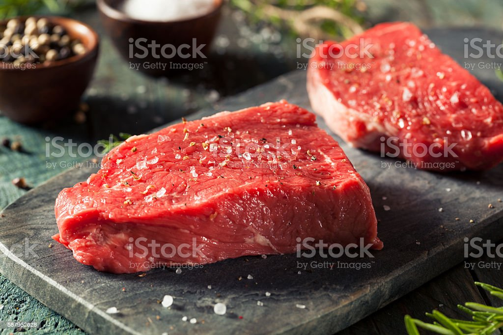 Raw Organic Grass Fed Sirloin Steak stock photo
