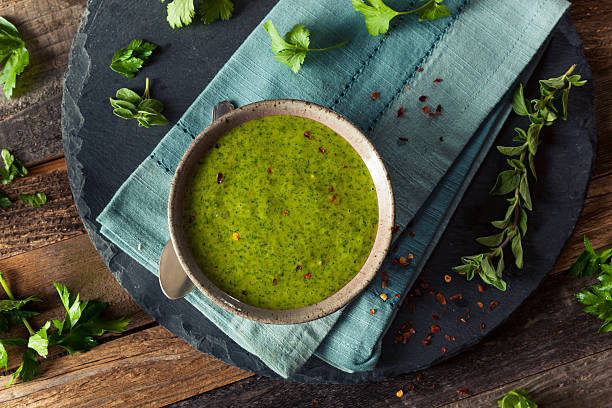 Raw Organic Green Chimichurri Sauce Raw Organic Green Chimichurri Sauce Ready to Use sauce stock pictures, royalty-free photos & images