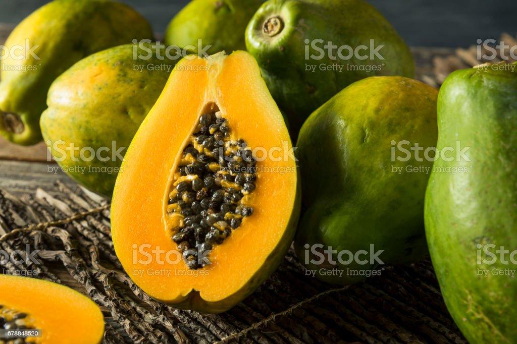Raw Organic Green Hawaiian Papaya stock photo
