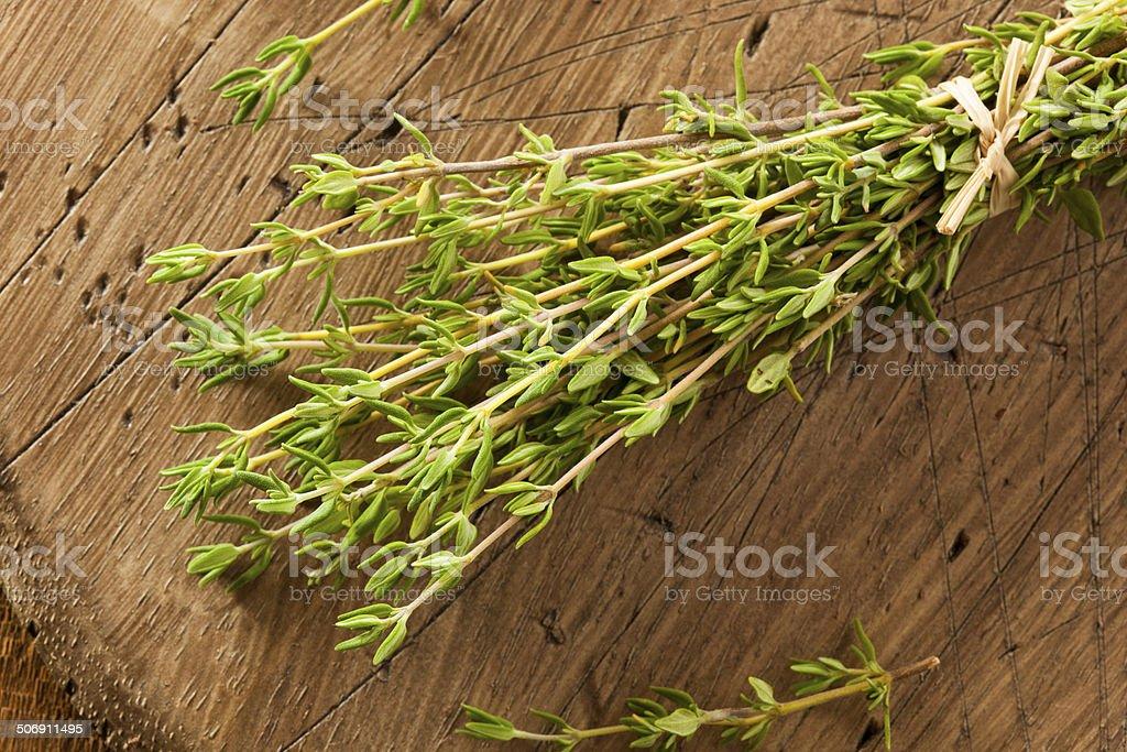 Raw Organic Green Thyme stock photo