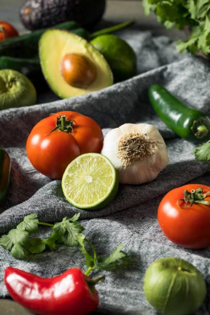 Ervas e vegetais orgânicos crus mexicanos saudáveis - foto de acervo