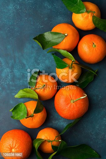 Raw organic juicy tangerines on branch with green leaves on dark blue background. Vitamins healthy lifestyle harvest. Vibrant colors. Beautiful food poster
