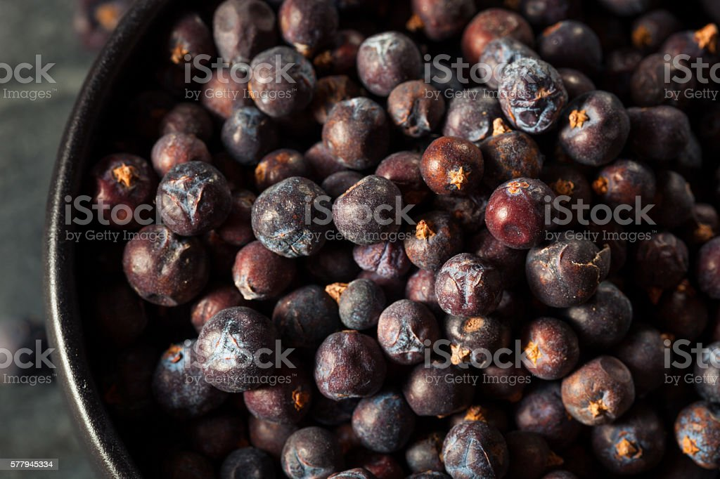 Raw Organic Juniper Berries stock photo