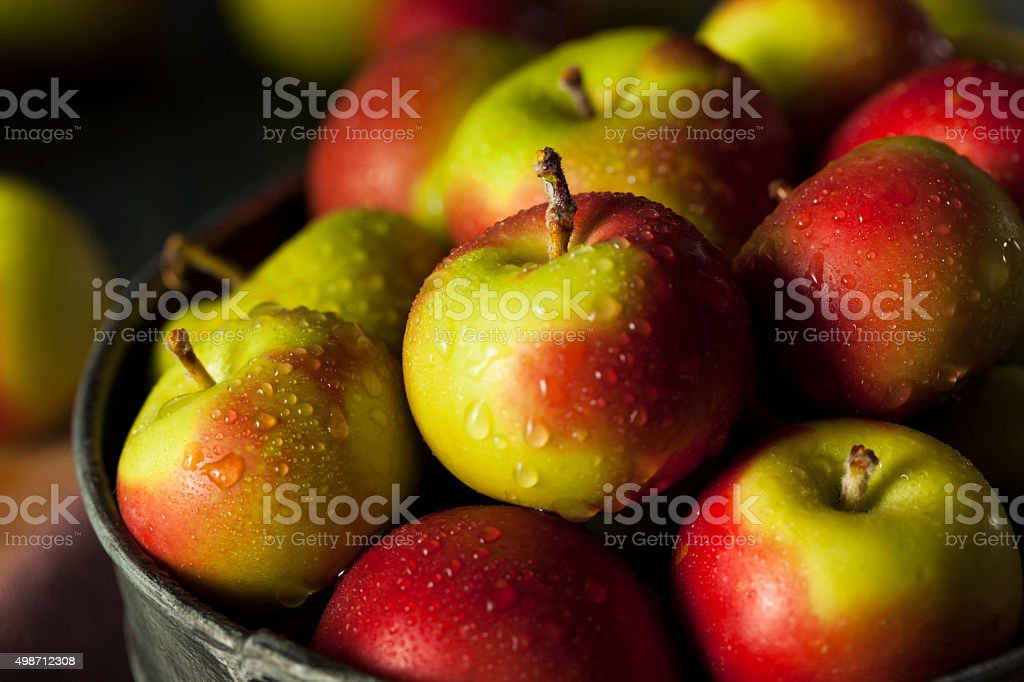 Raw Organic Lady Apples stock photo