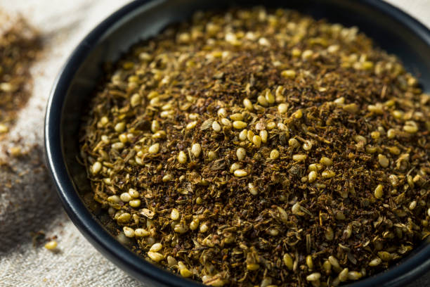 Raw Organic MIddle Eastern Zaatar Spices Raw Organic MIddle Eastern Zaatar Spices in a Bowl zaatar spice stock pictures, royalty-free photos & images