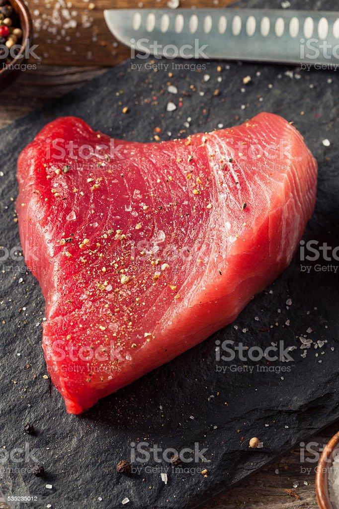 Raw Organic Pink Tuna Steak stock photo