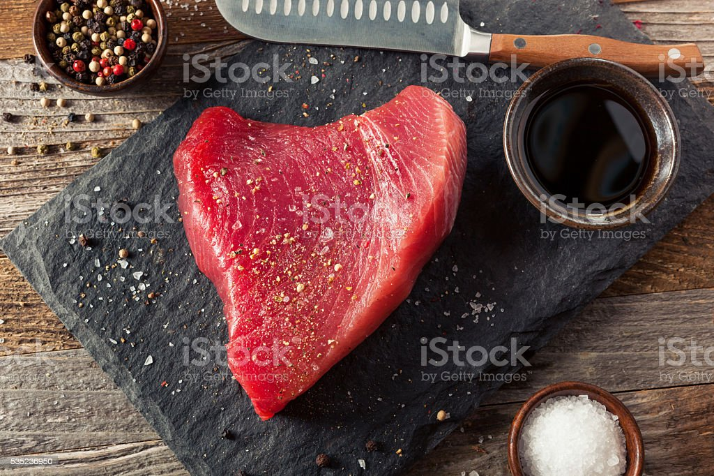 Raw Organic Pink Tuna Steak stock photo