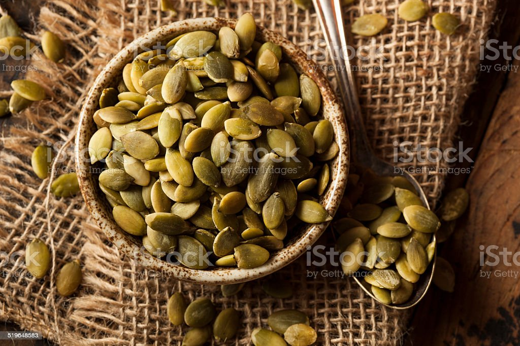 Raw Organic Pumpkin Pepita Seeds stock photo