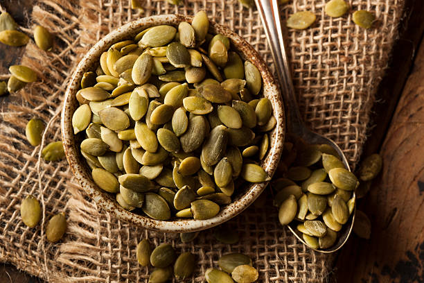 Raw Organic Pumpkin Pepita Seeds stock photo