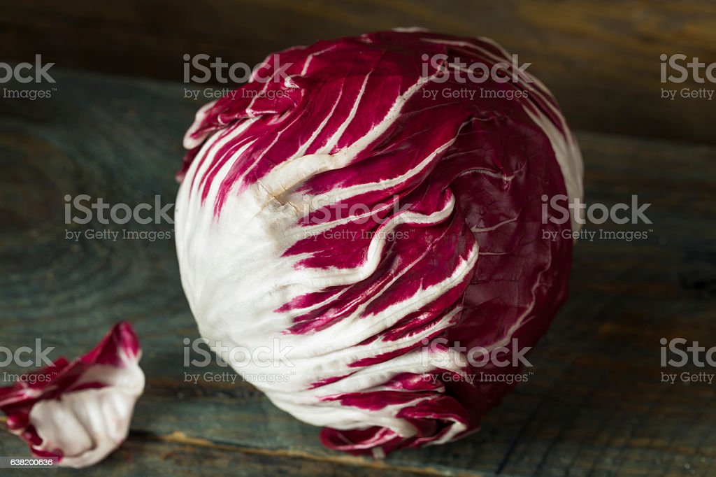 Raw Organic Purple Radicchio Lettuce stock photo