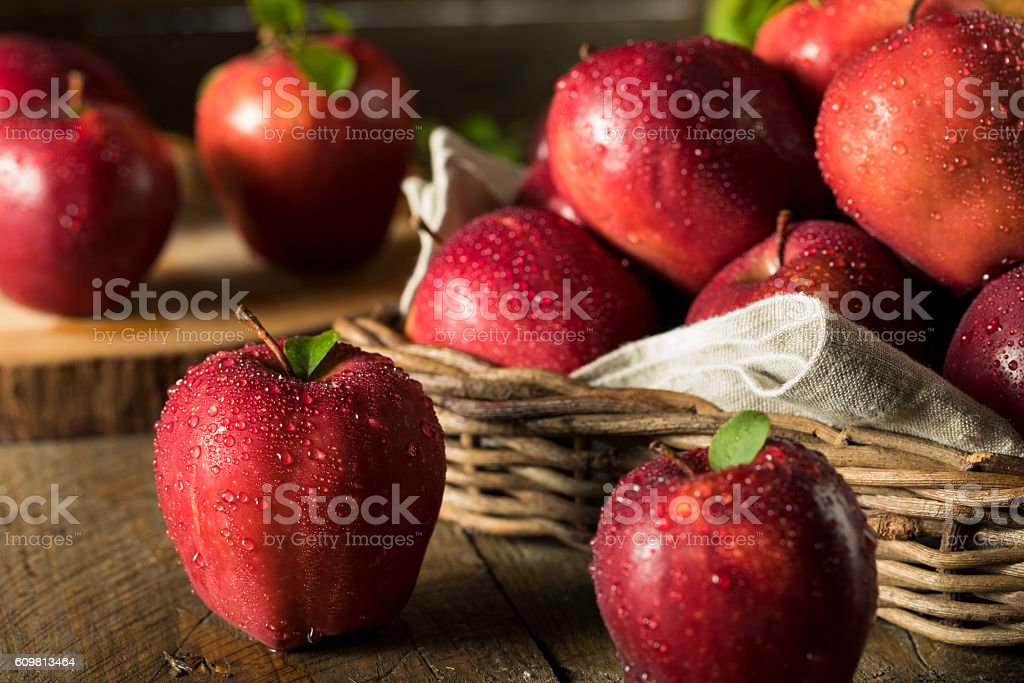 Raw Organic Red Delicious Apples stock photo