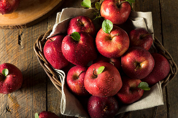 Raw Organic Red Delicious Apples Raw Organic Red Delicious Apples Ready to Eat red delicious apple stock pictures, royalty-free photos & images