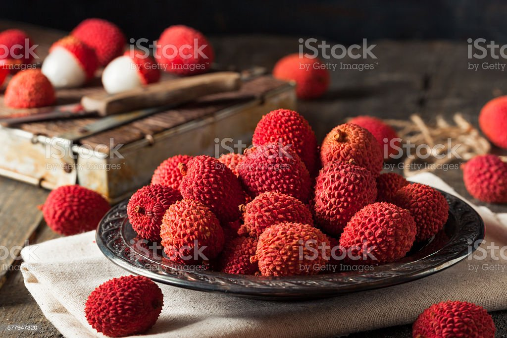 Raw Organic Red Lychee Berries stock photo