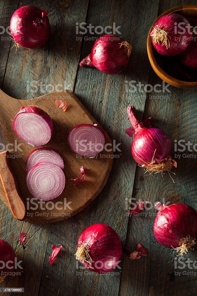 Raw Organic Red Onions stock photo