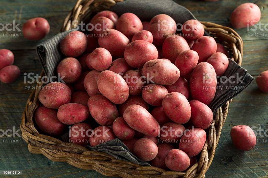 Raw Organic Red Potatoes stock photo