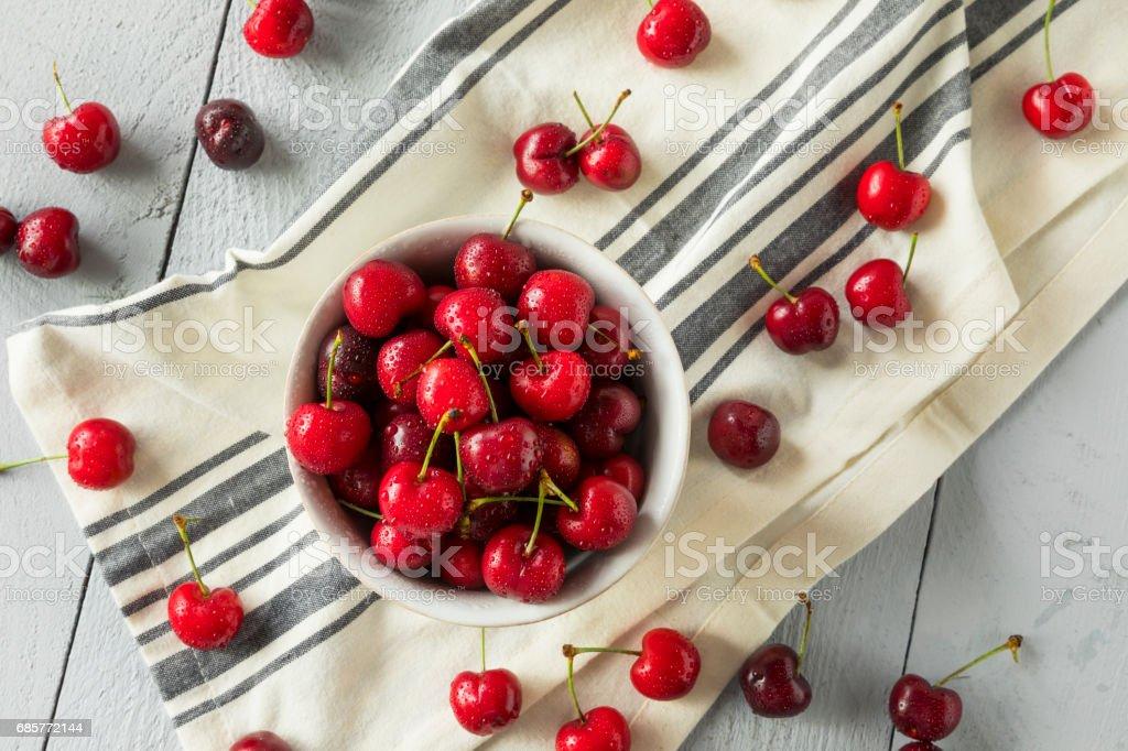 Raw Organic Red Sweet Cherries royalty-free stock photo