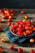 Raw Organic Red Sweet Cherries Ready to Eat