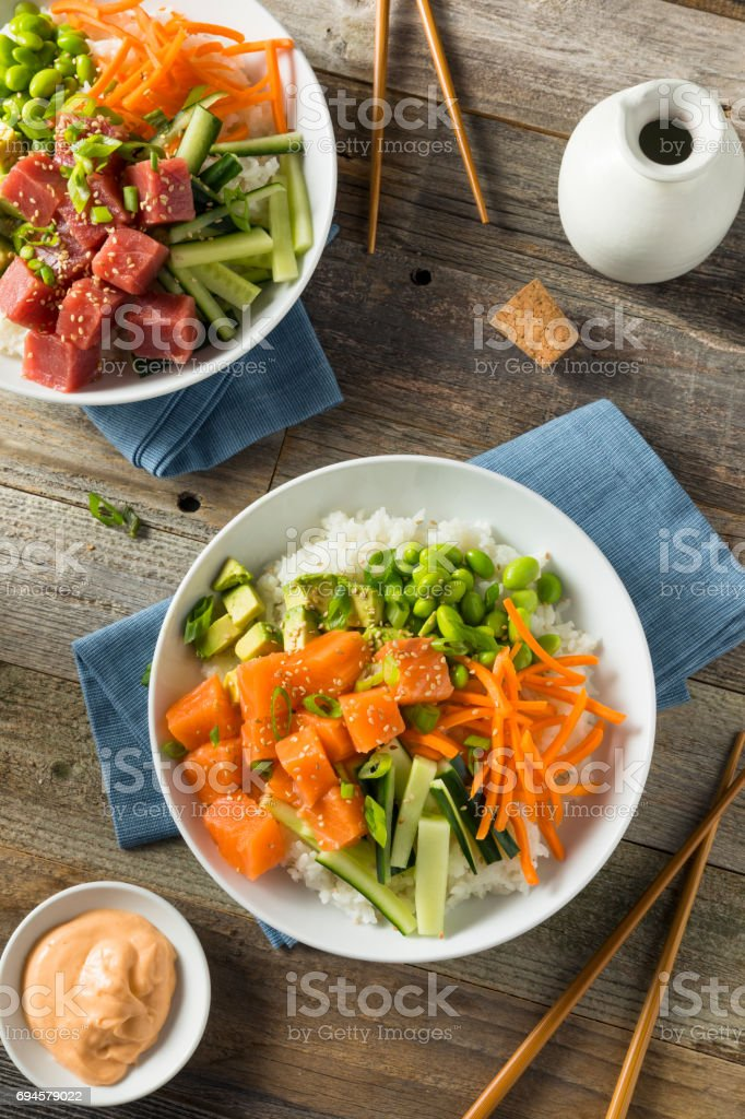Raw Organic Salmon Poke Bowl stock photo