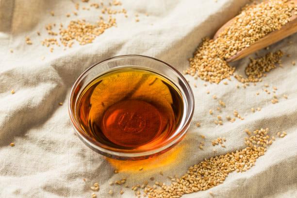 Raw Organic Sesame Oil stock photo