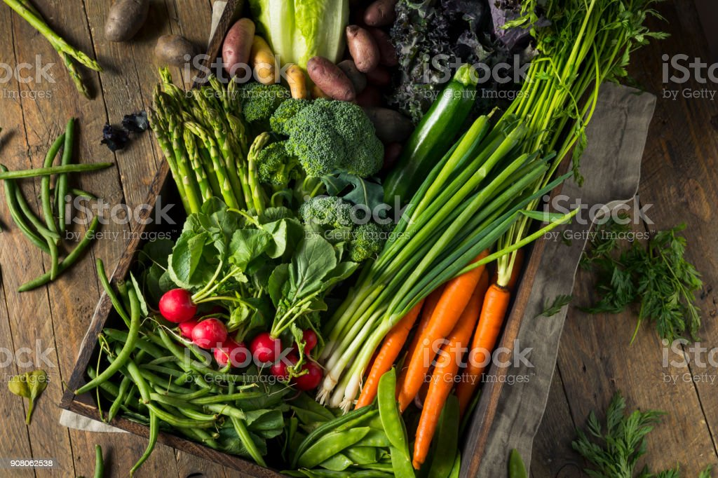 Raw Organic Spring Farmers Market Box stock photo